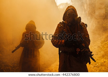 Nuclear post-apocalypse survivors Royalty-Free Stock Photo #442376800
