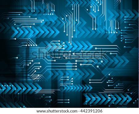 digital data background, blue silver abstract light hi tech pixel internet technology #442391206