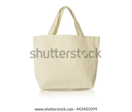 White calico bags for replace plastic bags keep environmental protection. Isolated on the white background this has clipping path.                             #442405099