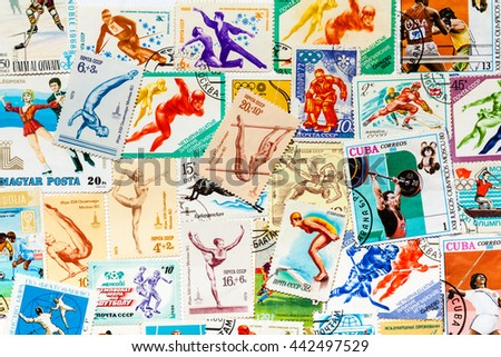 MOSCOW, RUSSIA - JANUARY 12. 2014: Collection of Russian (soviet) retro stamps printed in USSR  shows olympic games #442497529
