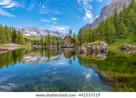 Beautiful valley of the seven lakes in Triglav national park #442537519