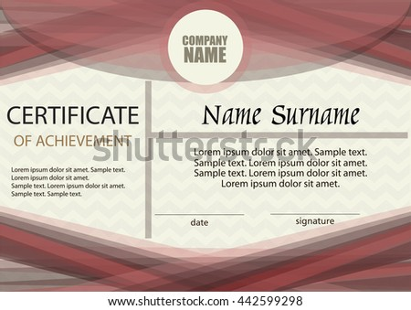 Certificate of achievement or diploma template. Horizontal. Award winner. Winning the competition. Reward. The text on separate layer. Vector illustration. #442599298