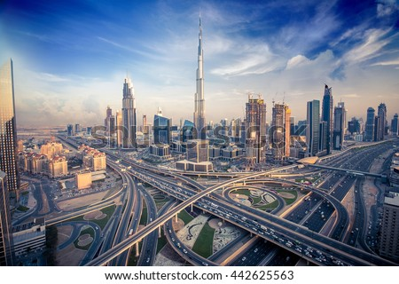 Dubai skyline with beautiful city close to it's busiest highway on traffic Royalty-Free Stock Photo #442625563