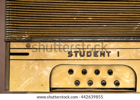 Vintage accordion, on which is written the student #442639855