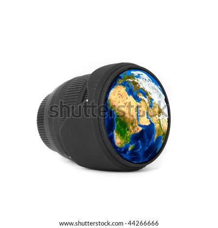 Lens with Earth reflected isolated on a white #44266666