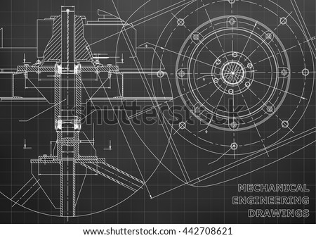 Mechanical engineering drawings. Vector black background. Grid Royalty-Free Stock Photo #442708621