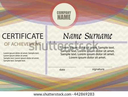 Certificate of achievement or diploma template. Horizontal. Award winner. Winning the competition. Reward. The text on separate layer. Vector illustration. #442869283