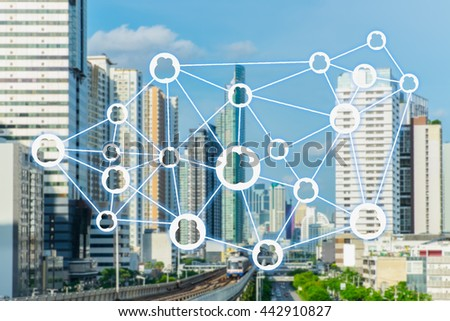 The sharing economy concept. Wireless connection against city infrastructure background. #442910827