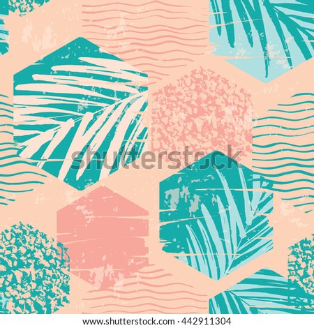 Trendy seamless exotic pattern with hand texture and geometric elements. Vector illustration. #442911304