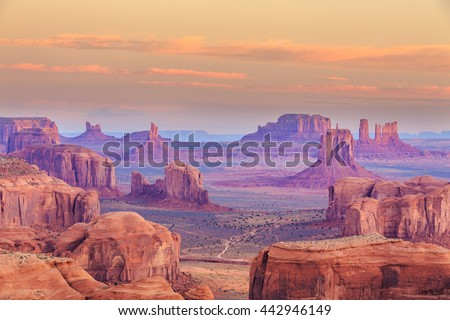 Sunrise in Hunts Mesa navajo tribal majesty place near Monument Valley, Arizona, USA #442946149
