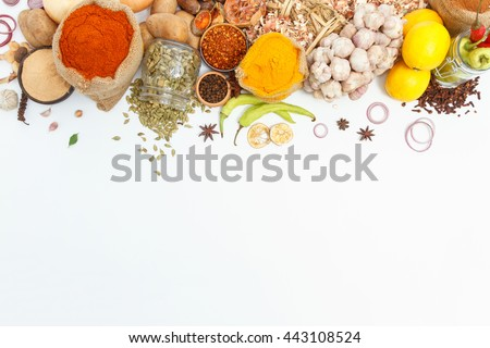 Group of indian spices and herbs difference ware on white background with top view and copy space for design foods, vegetable, healthy lifestyle or other your content. #443108524