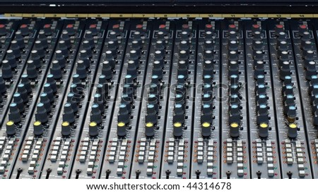 Detail of a mobile soundboard mixer for live music - (16:9 ratio) #44314678