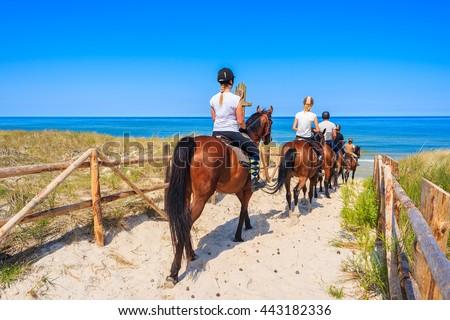Young women riding horses to sandy beach in Lubiatowo coastal village, Baltic Sea, Poland Royalty-Free Stock Photo #443182336