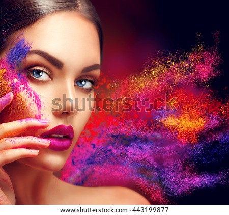High fashion model girl portrait with colorful powder make up. Beauty woman with bright color makeup. Close-up of Vogue style lady face, Abstract colourful make-up, Art design. Black background #443199877