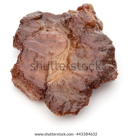 Cooked fried pork meat isolated on white background cutout #443384632