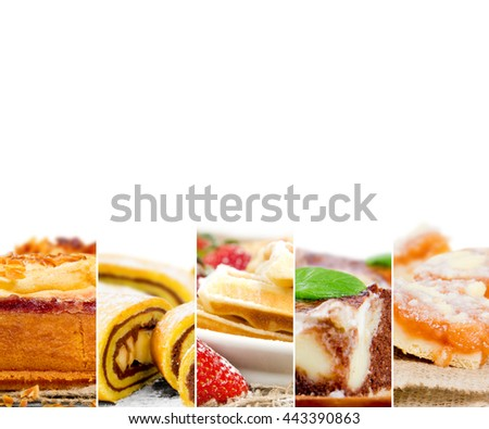 Photo of mix stripes with cakes, desserts and sweets; white space for text
