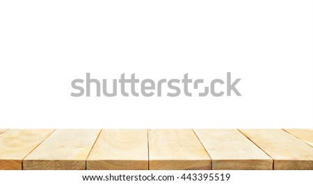 Empty of wood table top on white background.For create product display or design key visual layout.clipping path #443395519
