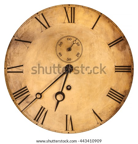 Vintage weathered clock face isolated on a white background #443410909