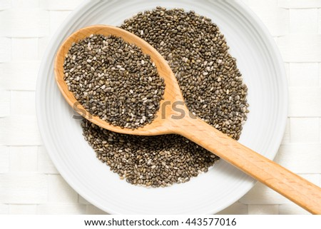 Chia seeds in a wooden spoon on white background #443577016
