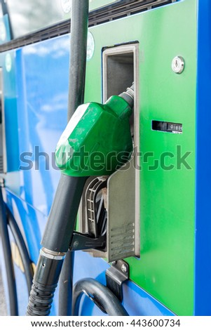 Fuel dispenser at the gas station #443600734