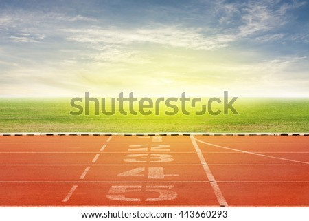 Start and Finish point of race track ,Running track number in front of tracks in stadium with beautiful green grass with blue sky scenery  background #443660293