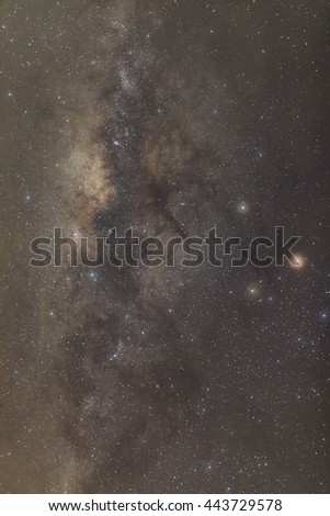 Core of Milky Way. Galactic center of the milky way, Long exposure photograph,with grain #443729578
