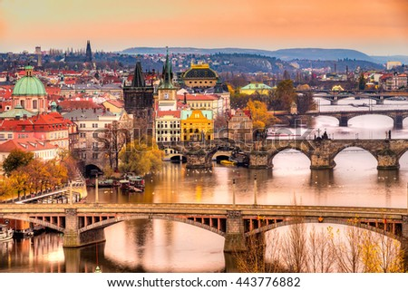 Prague, Charles Bridge and Old Townl. Czech Republic #443776882