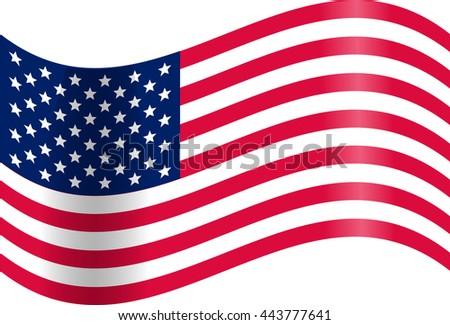 Waving American flag. Presidents day. JPEG, JPG Illustration. USA Stripes and Stars #443777641
