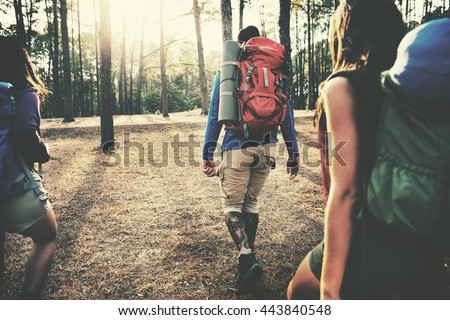 Camp Forest Adventure Travel Remote Relax Concept Royalty-Free Stock Photo #443840548
