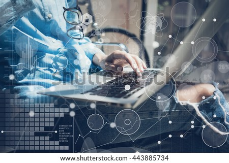 Woman Typing Keyboard Laptop Hand.Project Manager Researching Process.Business Team Working Startup modern Office.Global Strategy Virtual Icon.Innovation Graphs Interfaces.Analyze market stock.Blurred #443885734