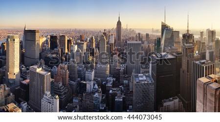 New York skyline at sunset, USA. #444073045
