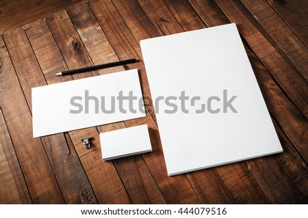 Blank corporate identity template on wooden table background. Blank template for design portfolios. Mock-up for your design. Blank stationery set. #444079516
