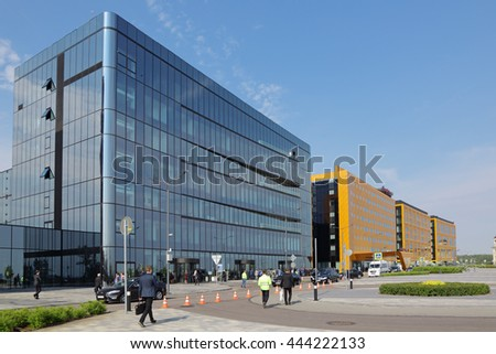 SAINT-PETERSBURG, RUSSIA - JUN 16, 2016: ExpoForum Convention and Exhibition Centre during the St. Petersburg International Economic Forum SPIEF-2016 #444222133