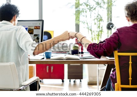 Fist Bump Colleagues Collaboration Teamwork Concept Royalty-Free Stock Photo #444269305