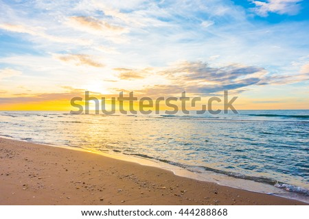 Beautiful nature with sunset on the beach and sea or ocean - Boost up color and Filter Processing #444288868
