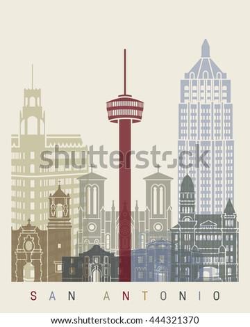San Antonio skyline poster in editable vector file