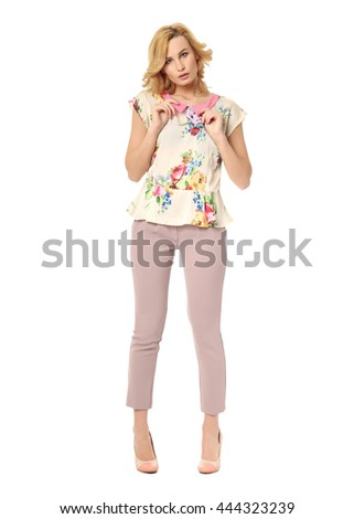 Beautiful blonde business woman posing on isolated white background #444323239