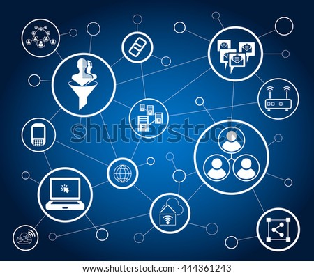 social media and network in blue background, vector illustration #444361243