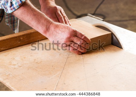 Carpenter tools on wooden table with sawdust. Circular Saw. Carpenter workplace top view. #444386848