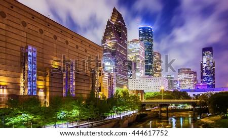 Houston, Texas downtown cityscape at night