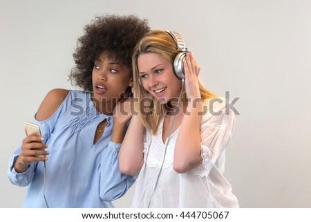 2 friends listening music #444705067