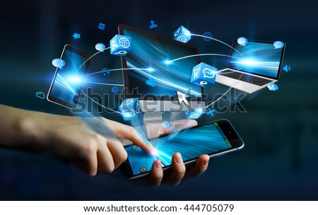 Tech devices and icons applications connected to businesswoman mobile phone '3D rendering' #444705079