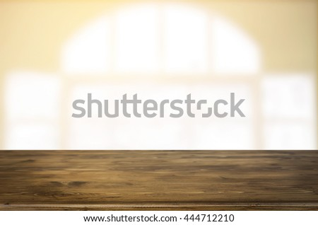 Selected focus empty brown wooden table and Coffee shop blur background with bokeh image. for your photomontage or product display #444712210