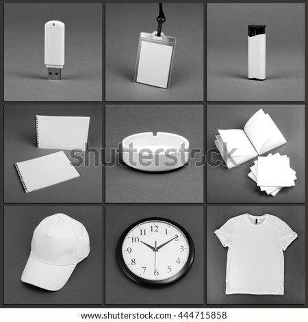 Blank stationery set for corporate identity system on gray background #444715858