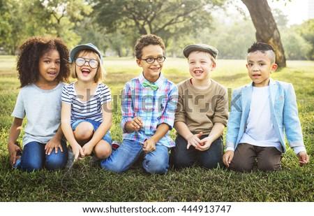 Friendship Trendy Playful Leisure Children Kids Concept #444913747