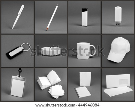 Blank stationery set for corporate identity system on gray background #444946084