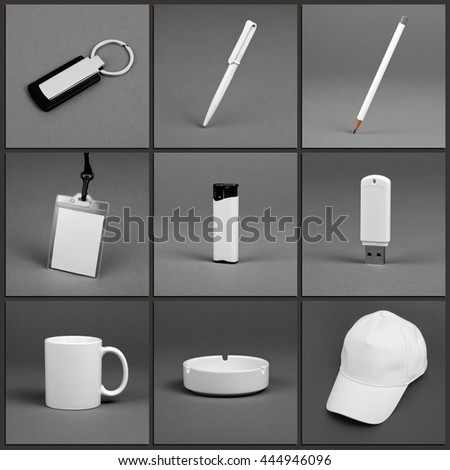 Blank stationery set for corporate identity system on gray background #444946096