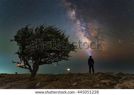 Man with flashlight look at the stars near the tree, Milky Way, on the shore of ocean, inspiration photo, introvert, unity the man and universe, astronomy and astrophotography