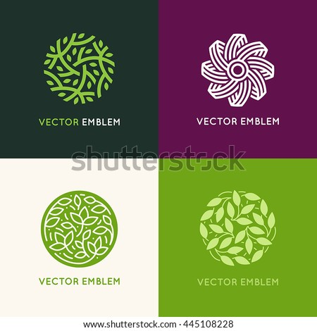 Vector set of abstract green logo design templates - emblems for holistic medicine centers, yoga classes, natural and organic food products and packaging - circles made with leaves and flowers #445108228