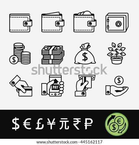 A quality set of icons related to money (exchange, payment, maintenance) and currency symbols #445162117